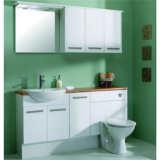 White Kitchen Units With Oak Worktop: Wickes Seville Bathroom Worktop