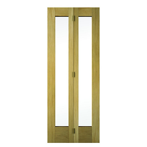 wickes oxford internal bifold door oak veneer glazed 2 panel 1981x762mm