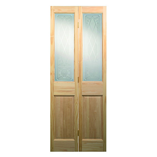Wickes Skipton Internal Bi-Fold Door Clear Pine Glazed 4 Panel 1981x762mm