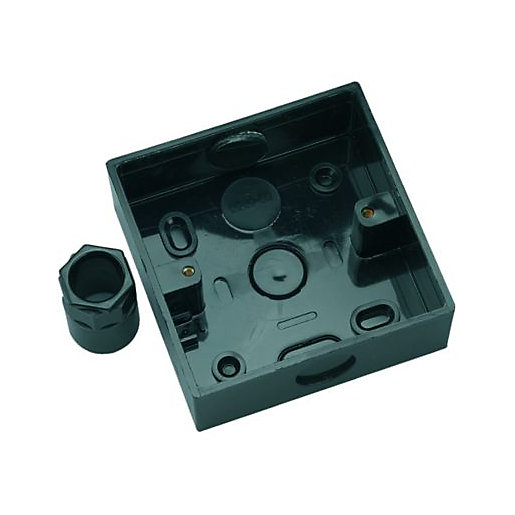 Wickes 1 Gang Pattress Box And Adaptor Black 32mm Wickes