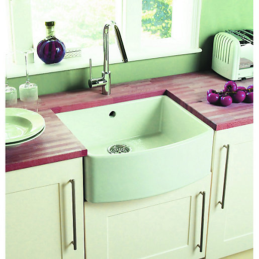 wickes bow front 1 bowl kitchen sink ceramic white wickescouk - Double Ceramic Kitchen Sink