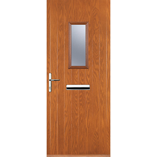 euramax 1 square oak right hand composite door - Exterior Back Doors