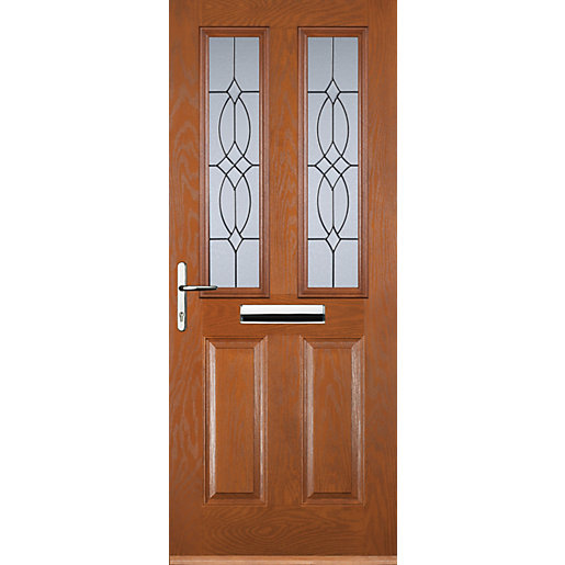 euramax 2 panel 2 square oak right hand composite door - Exterior Back Doors