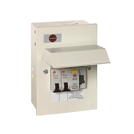missing product wylex 2 way garage unit with 1 x 63a rcd, 1 x 16a mcb, 1 x 6a mcb 2 way fuse box at bakdesigns.co