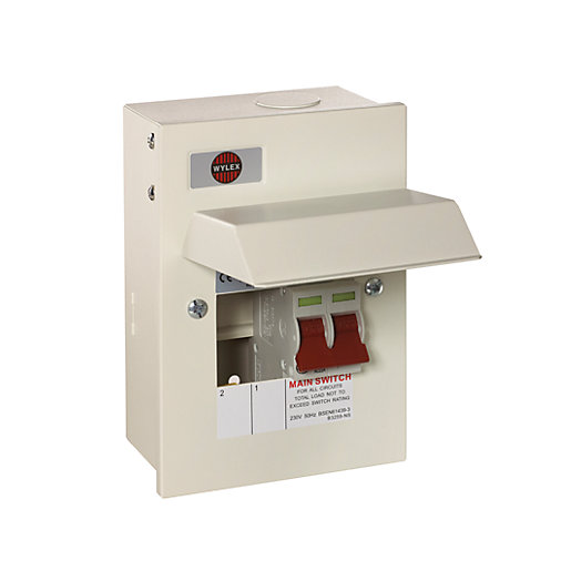 wylex 2 way metal consumer unit with 63a main switch gb6. Black Bedroom Furniture Sets. Home Design Ideas