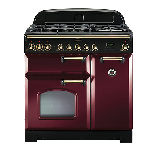 rangemaster classic deluxe 90 dual fuel cranberry brass. Black Bedroom Furniture Sets. Home Design Ideas