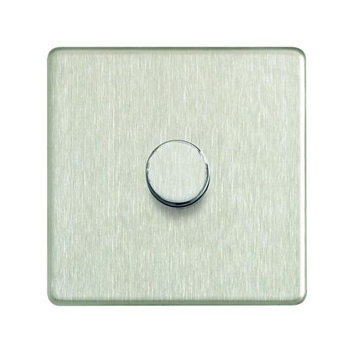 Wickes Dimmer Switch 1 Gang 2 Way 400w Brushed Steel