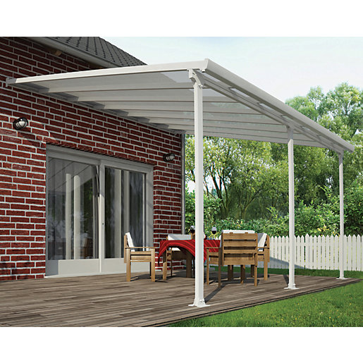Palram Feria Polycarbonate Patio Canopy White   4250 X 3870 Mm