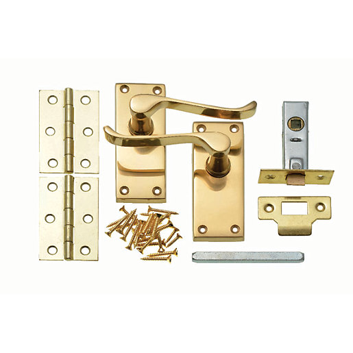 wickes paris victorian scroll latch handles pair set polished