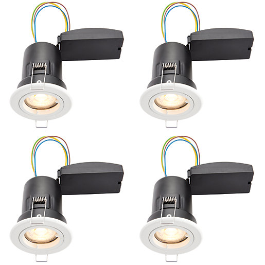 wickes white led premium fire rated downlight 6w pack. Black Bedroom Furniture Sets. Home Design Ideas