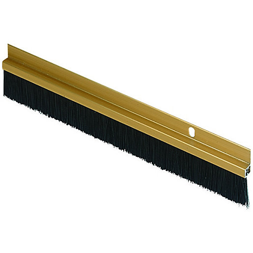 Wickes door brush draught excluder gold effect 838mm for Door draught excluder
