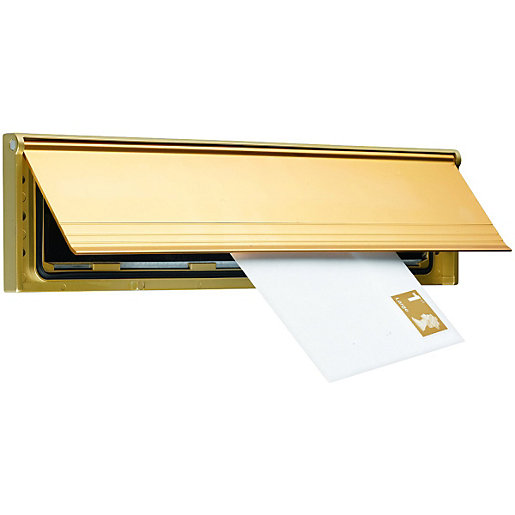 wickes internal letter box draught excluder with flap gold effect 75 x 292mm - Letter Box Covers