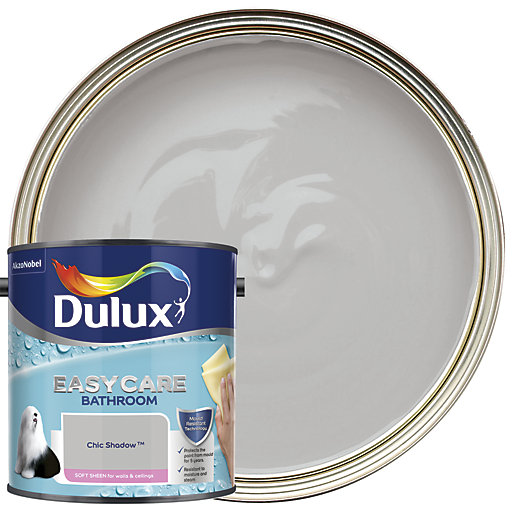 White Bathroom Paint Dulux dulux bathroom+ soft sheen emulsion paint - chic shadow 2.5l
