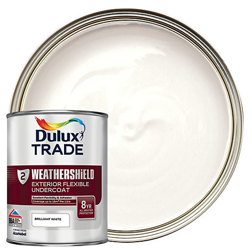 Dulux trade weathershield exterior flexible undercoat paint brilliant white 1l - Dulux exterior gloss paint style ...