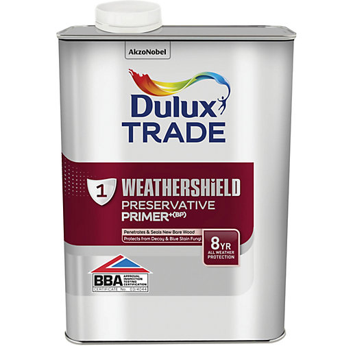 Dulux trade weathershield exterior preservative primer bp 1l Cuprinol exterior wood preserver clear