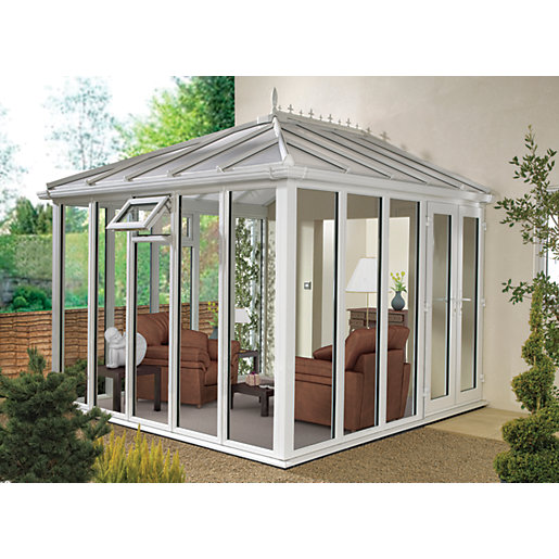 Wickes Edwardian E10 Glass Roof Full White Conservatory ...