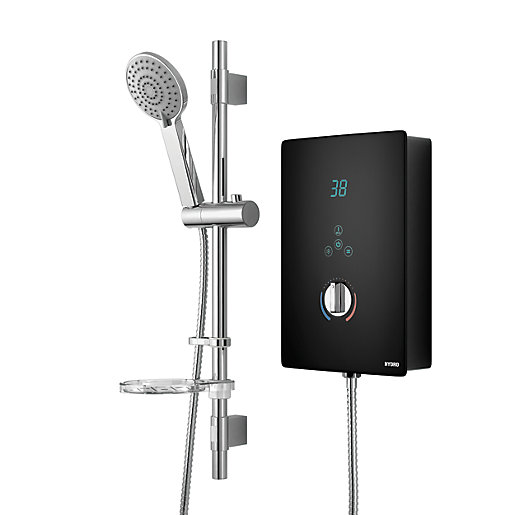 Wickes Hydro LED Lit Touch Control Electric Shower Kit   Black/Chrome 8.5kW