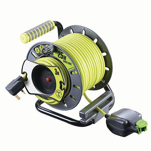 pro xt reverse open reel high visibility cable 25m. Black Bedroom Furniture Sets. Home Design Ideas
