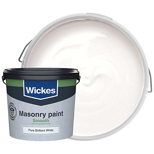 Wickes smooth masonry paint brilliant white 5l - Exterior white gloss paint image ...