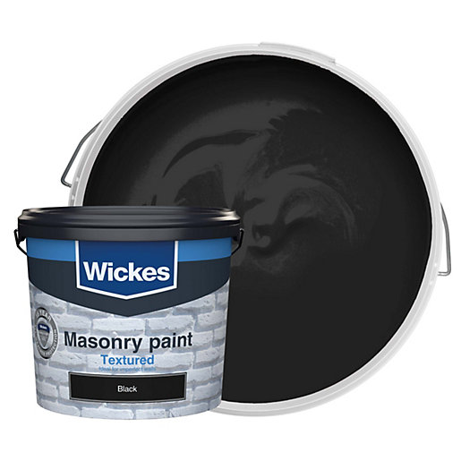 Wickes Textured Masonry Paint Black 5l