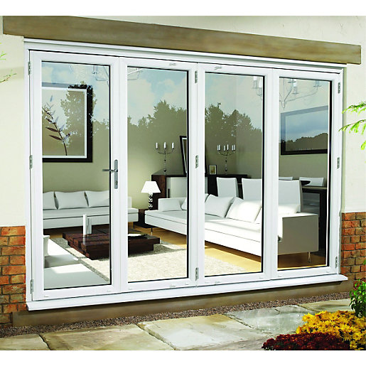 Wickes upvc external folding sliding patio door white for Patio doors uk