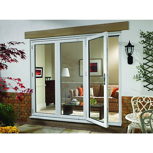 Wickes upvc external folding sliding patio door white for Double wide patio doors