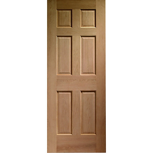 Wickes colonial external oak veneer door 6 panel 2032 x for Wooden front doors fitted