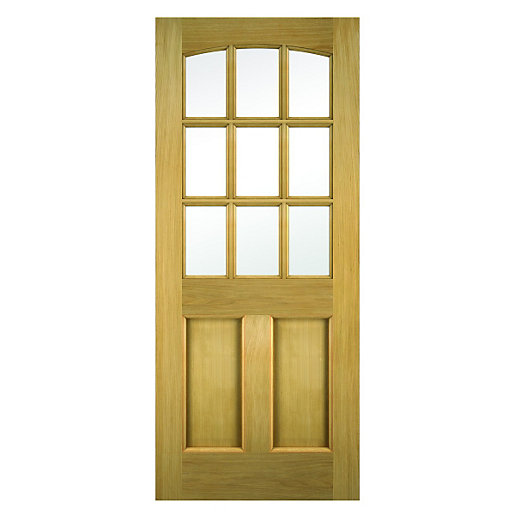 wickes georgia external oak veneer door glazed 2 panel