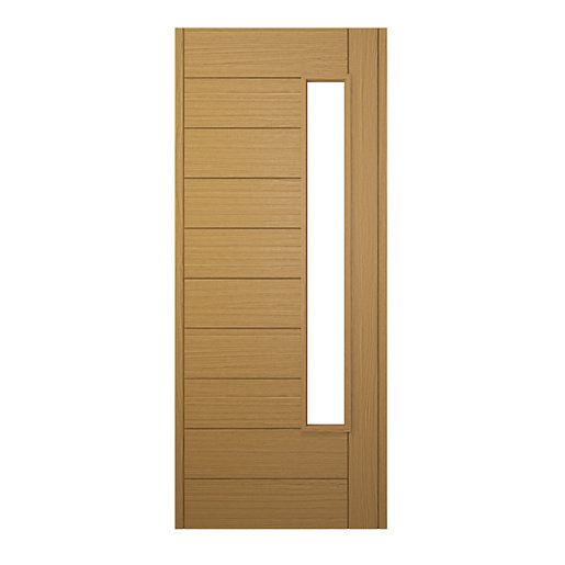 Wickes stockholm external oak veneer glazed door 1981 x for Door viewer wickes