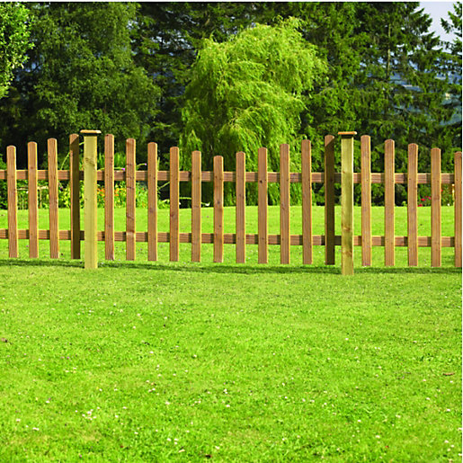 Wickes Crescent Palisade Picket Fence 6 X 3ft