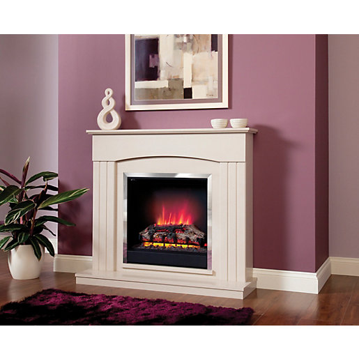 be modern linmere electric fire suite. Black Bedroom Furniture Sets. Home Design Ideas