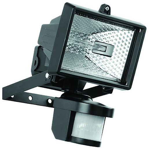 Security Flood Lights Outdoor: Wickes 120W PIR Floodlight Black,Lighting