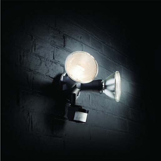Outside Wall Lights Wickes : Wickes 120W Twinspot PIR Floodlight Wickes.co.uk