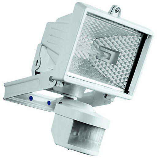 White security lights light collections light ideas security lighting lighting decorating interiors wickes wickes compact white halogen floodlight with pir 120w r7s audiocablefo mozeypictures Images