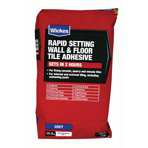 Wickes Rapid Setting Tile Adhesive 12 5kg Wickes Co Uk