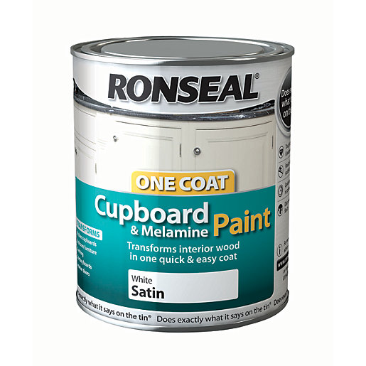 Ronseal One Coat Cupboard Paint White Satin 750ml
