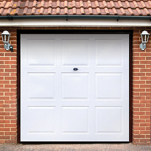 Wickes georgian grp garage door white 1981 x 2134mm for Garage doors uk