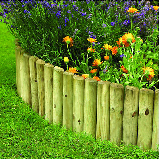 wickes half log timber border edging roll 300 x mm - Garden Edging