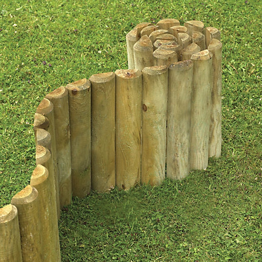 Wickes Timber Border Log Roll Edging 150mm x 18m Wickescouk