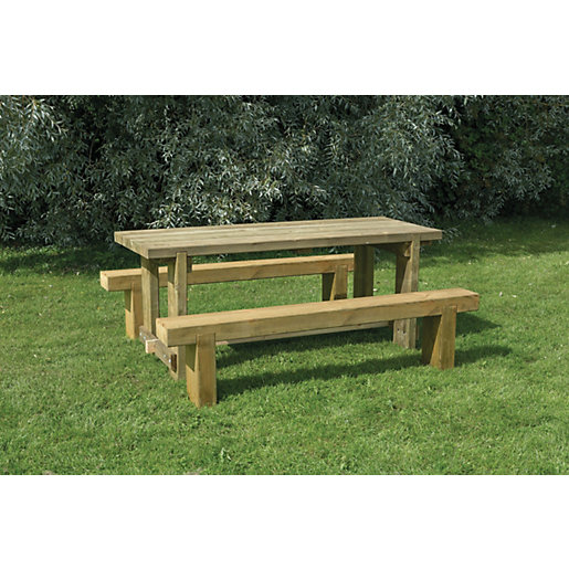 Forest Garden Sleeper Bench and Table Set 18m Wickescouk