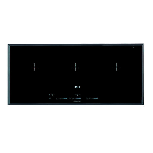 aeg 3 zone maxisense flexi induction hob black hk953400fb. Black Bedroom Furniture Sets. Home Design Ideas