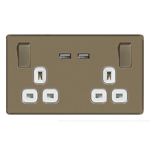 wickes 13a switched socket usb charger 2 gang pearl nickel screwless flat plate