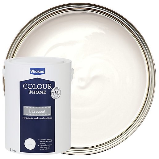 Wickes colour home basecoat emulsion paint white 5l for Can you use emulsion paint on canvas