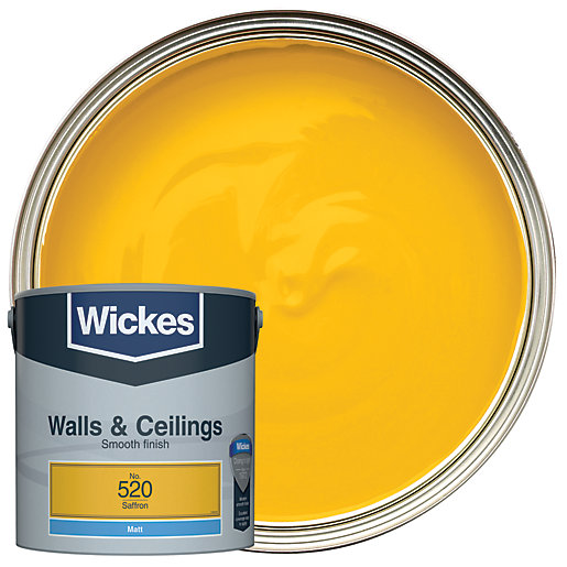 Wickes colour home vinyl matt emulsion paint saffron 2 for Saffron yellow paint color