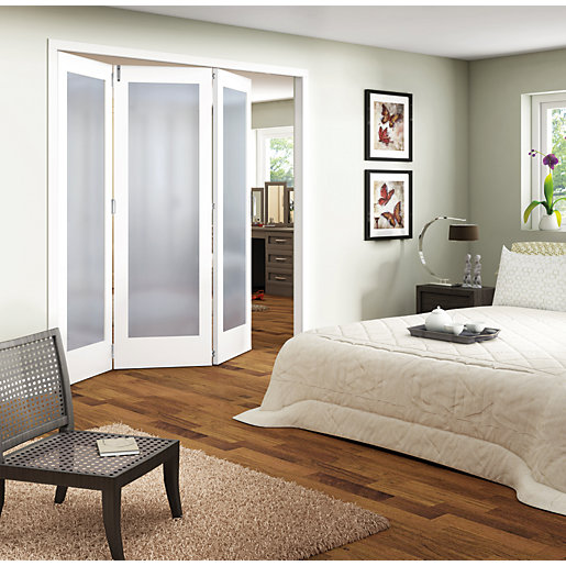 Wickes ashton internal folding door white glazed 1 lite 3 for Internal folding sliding doors