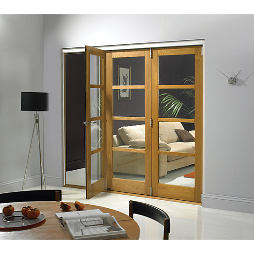 Wickes Belgrave Internal Folding 3 Door Set Oak Veneer 4 Lite 2074 x 1790mm  sc 1 st  Wickes : wicks door - pezcame.com