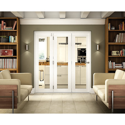 Wickes Belgrave Internal Folding 3 Door Set White Pre Finished 1 Lite 2074 X 2390mm