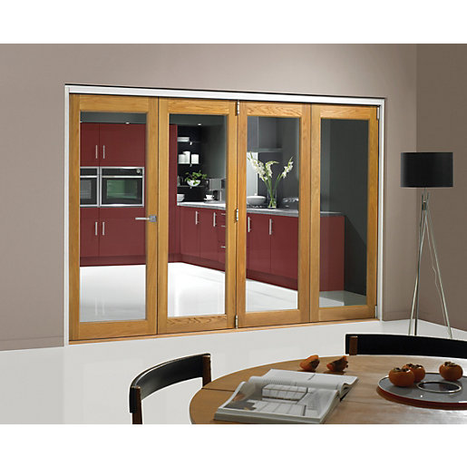 Wickes belgrave internal folding 4 door set oak veneer 1 for Internal folding sliding doors