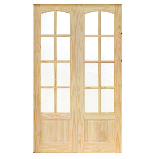 Wickes newland internal french doors pine glazed 8 lite for 8 foot exterior french doors