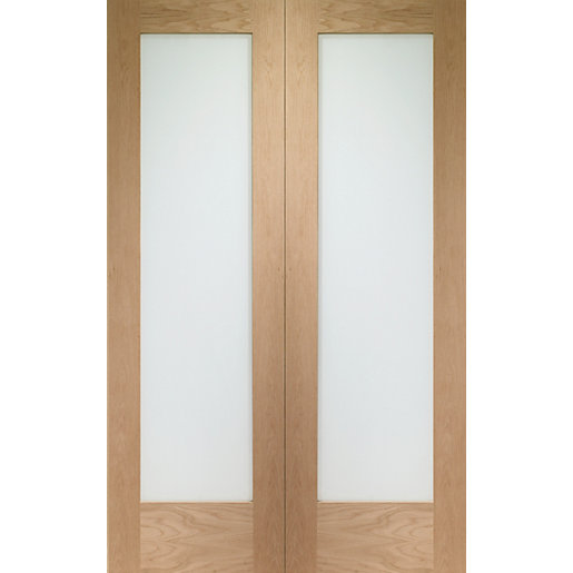 Wickes oxford glazed internal rebated oak veneer door pair for Oak french doors